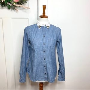 Ann Taylor LOFT Embellished Collar Chambray Top